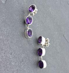 "Gifts $75-$100 - Pamela Huizenga Amethyst 3 Drop Earrings - Sterling Silver and Amethyst 3 Drop Earrings, 1.25"""