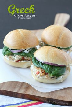 Greek Chicken Burgers by Nutmeg Nanny {with a tangy Greek yogurt sauce and pickled red onions!}
