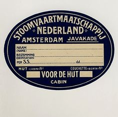 Shipping Company STOOMVAARTMAATSCHAPPIJ * Old Luggage Label Kofferaufkleber
