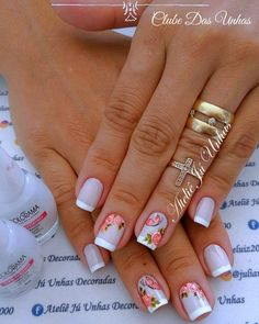 Pin by mimi on nails in 2019 Em Nails, Cute Nails, Pretty Nails, French Polish, Cute Nail Designs, Flower Nails, Nail Arts, Manicure And Pedicure, Acrylic Nails