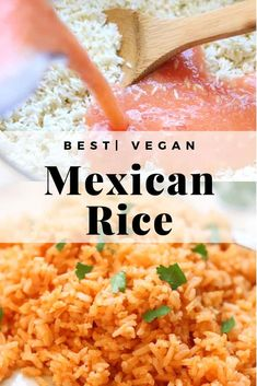 Best Baked Vegan Mexican Rice (or Instant Pot) : This easy Mexican rice is full of flavor and comes out light and fluffy every time! Baked in your oven or made in the instant pot, this healthy recipe is vegan, of course vegetarian and super delicious! Rice Recipes For Dinner, Whole Food Recipes, Cooking Recipes, Xmas Recipes, Cooking Tips, Breakfast Recipes, Vegan Mexican Recipes, Vegetarian Recipes, Healthy Recipes
