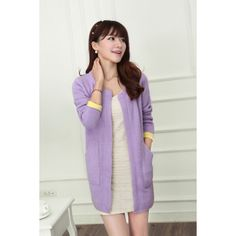 Women's Sexy Purple O-Neck Solid Worsted Coat - 70110514