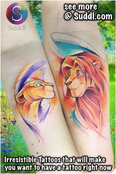 relationship tattoos The Lion King Couple Tattoos Disney Couple Tattoos, Disney Inspired Tattoos, Cute Couple Tattoos, Love Tattoos, Body Art Tattoos, Awesome Tattoos, Tatoos, Simba Tattoo, Lion Tattoo