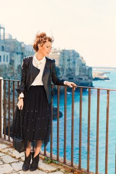 Tulle skirt, white shirt, leather jacket. OOTD Bary Italy, Polignano a Mare