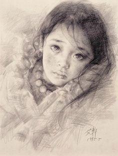 魅丽的眼神--艾轩的素描作品欣赏