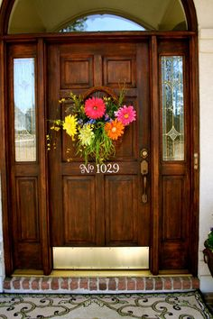 Spring Summer Front Door Decor - Flower Floral Wreath