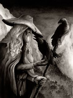 """""""Odin"""" (Norse god) together with Huginn & Muninn (meaning: Thought & Memory) his two raven companions."""