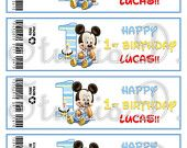 DIY Baby Mickey Mouse Water Bottle Wraps & Straw Flags - 1st Birthday Party…