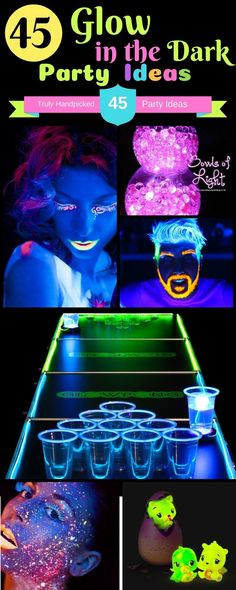 Neon Night Glow Party Ideas: Glow in the dark Party food ideas from experts on - Room Decor, Backdrop, Body and hair paint and glowing craft ideas for birthday party, glowing table, eggs and teen parties, Party Games . #neon #party #birthday #glow #partyideas #DIY #games #decor