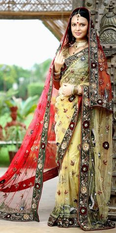 Bridal Sarees are made up of High Quality Fabric and have Stones, Diamantes, Cutdana, Beads, Jari etc. Bridal Sarees are on occasions like Wedding. Ethnic Sarees, Indian Sarees, Indian Dresses, Indian Outfits, Indian Clothes, Bridal Dupatta, Boho Chic, Beauty And Fashion, We Are The World