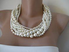 Wedding  Bold Bridalivory pearl chunky layered by galladesign, $63.00