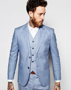Feraud Premium 55% Linen Suit Jacket in Pale Blue