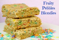 Fruity Pebbles Blondies Recipe by A Turtle's Life for Me