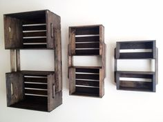 SALE Set of 3 Brown Wooden Crate Wall Hanging Shelf Units - Wood Shelves for Bookcase, Bedroom, Storage, Bathroom, Outdoor