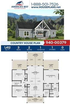 Explore this Country design! Plan 940-00379 is fulfilled with 1,412 sq. ft., 3 bedrooms, 2.5 bathrooms, covered porch, an open floor plan, and a split bedroom concept. Learn more about our Country designs on our website. #countryhomes Best House Plans, Country House Plans, Floor Plan Drawing, Dormer Windows, Construction Cost, House Stairs, Build Your Dream Home, Open Floor, Square Feet