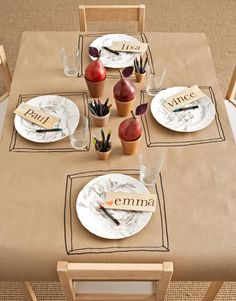 Really cool idea for a kid's table setting - a paper tablecloth