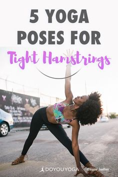 The hamstrings are three posterior thigh muscles that extend the hip and facilitate knee flexion. Here are five yoga poses to safely stretch the hamstrings. Basic Yoga Poses, Yoga Poses For Beginners, Yoga Tips, Pranayama, Asana, Tight Hamstrings, Yoga Breathing, Yoga Moves, Yoga Exercises