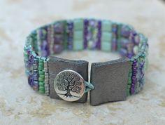 Loomed Beaded Bracelet - Sundance Style Artisan Jewelry - Purple, Lilac, Violet, Green, Mint Bracelet - Growing Season by SplendorVendor