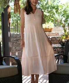 This Peach Lace Tiered Maxi Dress by Ananda's Collection is perfect! #zulilyfinds