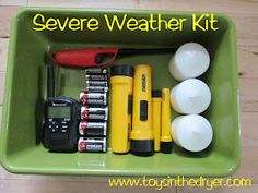 Severe Weather Kit- a great idea! Always store it in the same place and you will never have to search for a flashlight again during a storm.