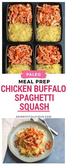 Meal Prep Buffalo Chicken Spaghetti Squash! Spaghetti squash makes an easy Paleo pasta alternative with buffalo chicken & veggies for a healthier meal! Dairy Free + Paleo + Gluten Free + Low Calorie