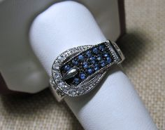 Thumbnail of Sterling Silver Buckle Ring Blue Topaz 6.2 grams Size 9  - Sterling Silver - 9 -