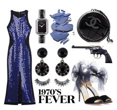 """""""Chanel globe clutch, Jimmy Choo Lilyth heels, David Koma sequin dress, Chanel watch and Givenchy earrings."""" by anastassiablog ❤ liked on Polyvore featuring By Terry, Jimmy Choo, David Koma, Chanel, Givenchy and Napoleon Perdis"""