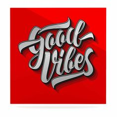 """Roberlan """"Good Vibes 2016 """" Red Typography Luxe Square Panel"""
