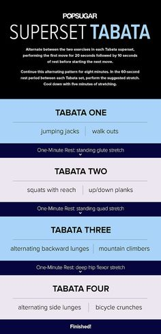 Tabata is all the rage for good reason, so get set to burn major calories: print out this workout, and get your timer ready (we like the free programmable app SIT — simple interval timer). Get more information on how to do each exercise here.