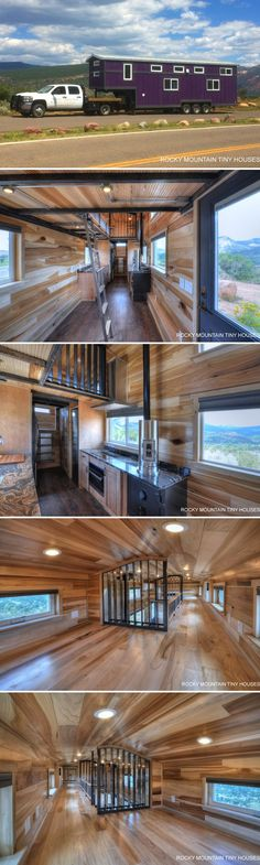 Designed and built by Rocky Mountain Tiny Houses for a family of five is this 460-square-foot gooseneck tiny house, the Pemberley.