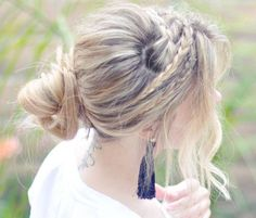 casual updo with accent braids and soft curls, ideal for medium to long hair