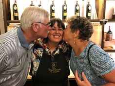 Kissed by friends! Lucky Mira! Thanks for enjoying wine tasting at Tenuta Torciano! #fun #winetasting #winelovers #Tuscany #italy #winery  #cellar #friends #friendship