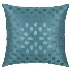"""Throw pillow in peacock blue with tonal oval detail.  Product: PillowConstruction Material: Polyester slub cover and polyester fillColor: Blue  Features:  Insert includedHidden zipper closure Dimensions: 18"""" x 18""""Cleaning and Care: Dry clean only"""