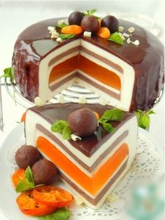 * Gourmet cakes Super Awesome Chocolate tangerine c. Fancy Desserts, Fancy Cakes, Sweet Desserts, Just Desserts, Delicious Desserts, Cake Recipes, Dessert Recipes, Gourmet Cakes, Gourmet Recipes