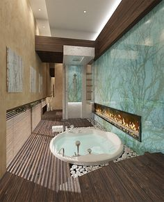 ♂ Bathroom with fireplace