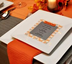 Modern Thanksgiving Table: Orange & Gray // Hostess with the Mostess®