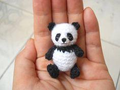 Panda Bear Amigurumi Crochet miniatura oso peluches hechos