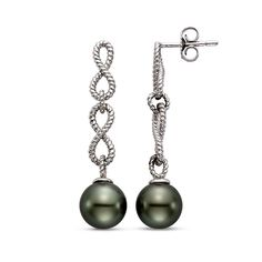 Black Tahitian Pearl Earrings available at Houston Jewelry!