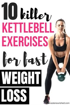 Kettlebell exercises are one of the best ways to lose weight fast. Click through to find out 10 of the best kettlebell exercises for weight loss Lose Weight Fast Diet, Quick Weight Loss Tips, Weight Loss Detox, Weight Loss Challenge, Losing Weight Tips, Fast Weight Loss, How To Lose Weight Fast, Healthy Weight, Weight Gain