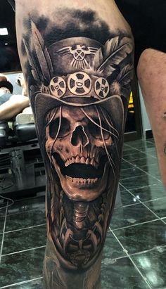 Skull Rose Tattoos, Leg Tattoos, Cool Tattoos, Skull Tattoo Design, Tattoo Designs, Badass Sleeve Tattoos, Aztec Drawing, Cute Owl Tattoo, Gangsta Tattoos