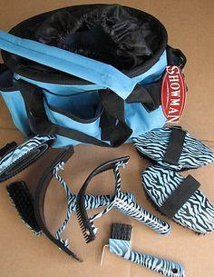 Showman Zebra Stripe 8 Piece Deluxe Grooming Kit, Horse or Pony - BLUE | eBay $ 34