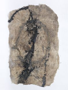 Moira Bateman — greycloud panel  River water, ash, silk, pigment, beeswax and stitching.