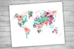 Carte du monde | Mappemonde aquarelle florale | Impression de géographie | Décoration art de voyage | Sticker imprimable - téléchargement immédiat