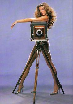Gisele Bündchen, photo by Michael Thompson, W Magazine, 1999 Gisele Bundchen, Elite Model Look, Ralph Gibson, Michael Thompson, Big Camera, Camera Shy, Camera Lens, Foto Portrait, Girls With Cameras
