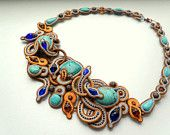 Soutache turquoise orange blue crystals embroidered necklace
