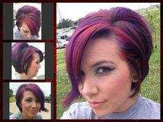 Red & Purple highlights. Cat eye makeup.