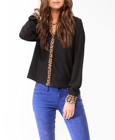 Wild Trimmed Button Up Blouse | FOREVER21 - 2013902909