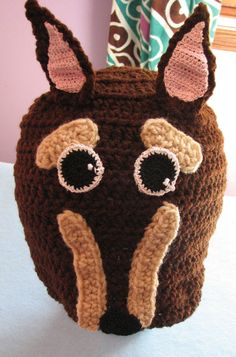 Adult Size Doberman Hand Made Crochet Hat by DonnasCrochetDesigns