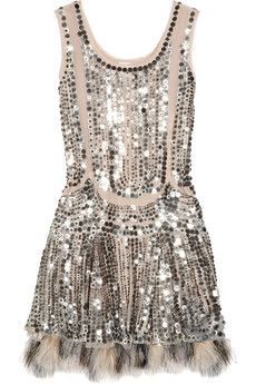 Anna Sui silk tulle sequin dress.. with feathers!