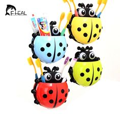 FHEAL Ladybug Toothbrush Holder Toiletries Toothpaste Holder Bathroom Accessories Sets Suction Hooks Tooth Brush Container